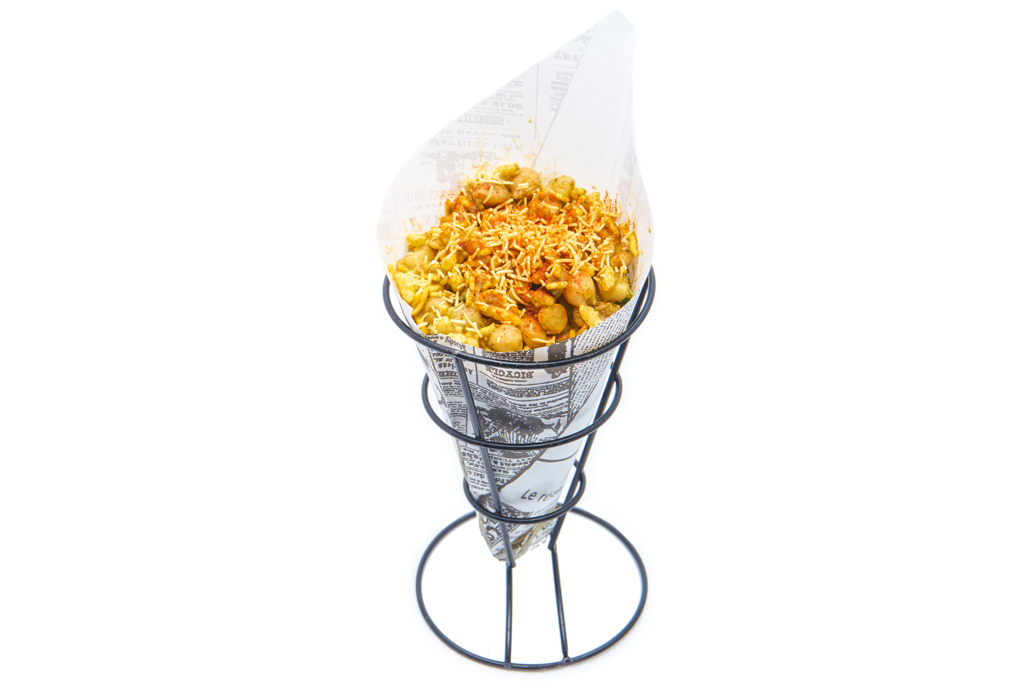 BHEL PURI   puffed rice, potato garbanzo mash, cucumber, chutneys, crispy sev noodles (V)