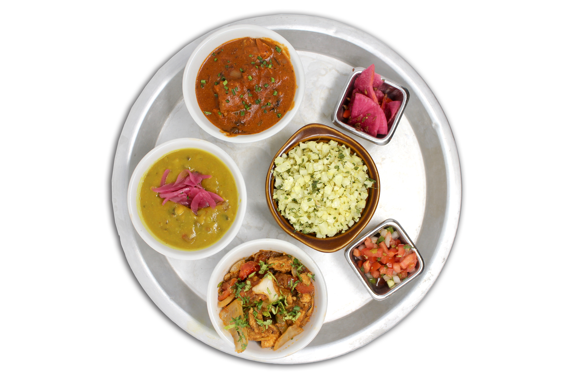 LITE THALI   riced cauliflower, daal lentils, pico & pickles  choice of any two: aloo gobi (V), butter paneer (VG), kadhai chicken or butter chicken