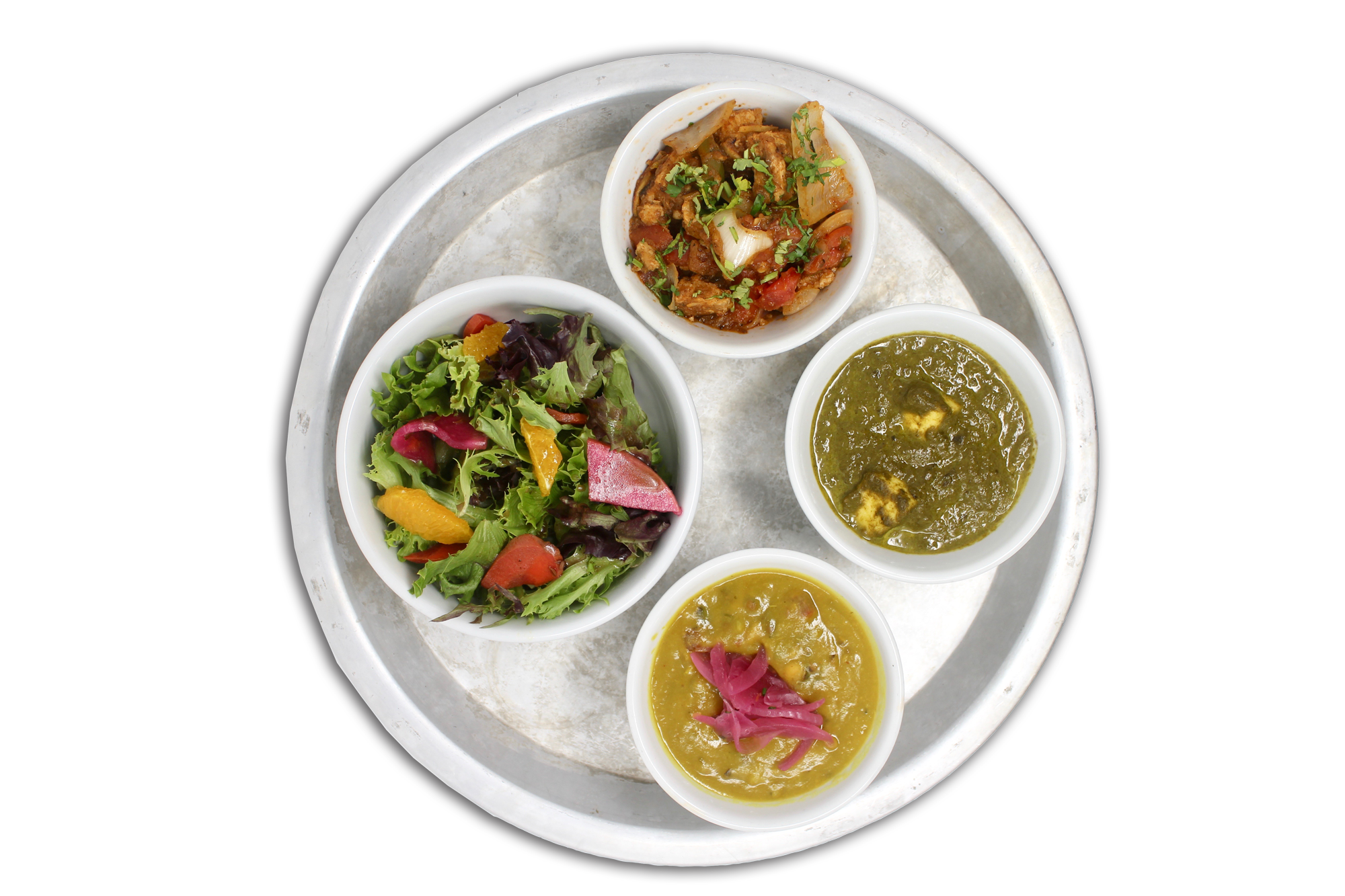 #KARMAPROTEIN   bowls of daal lentils, saag paneer, vegan plant protein, local seasonal greens (VG)