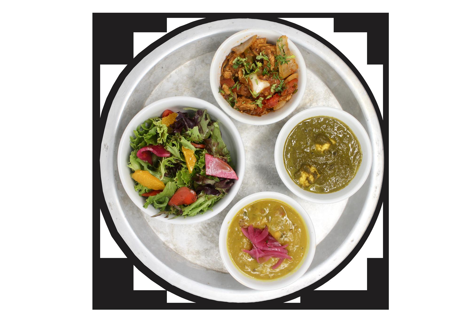#KARMAPROTEIN   bowls of daal lentils, saag paneer, free range plant protein, local organic salad