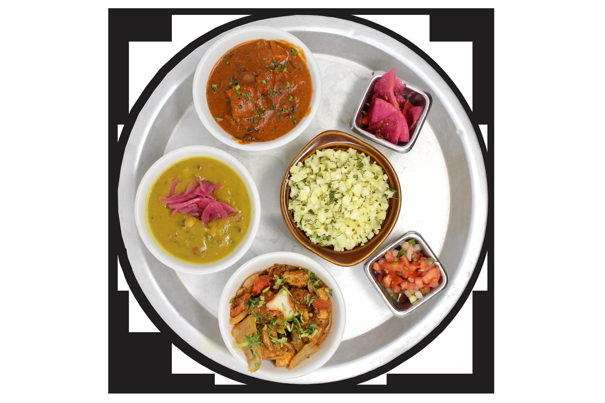 LITE THALI   riced cauliflower, daal lentils, kadhai chicken or free range plant protein (V), chicken or paneer tikka masala (VG), pico & pickles