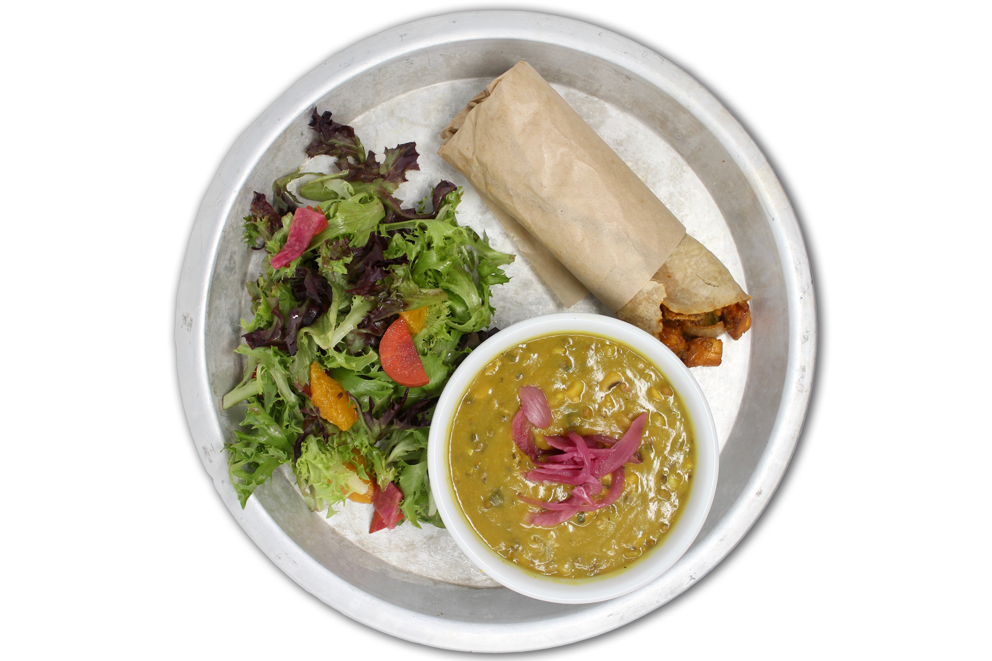 SOUP N' ROLL   choice of chicken, paneer (VG) or free range plant protein (V) wrapped in a brown rice tortilla, daal lentil soup, local organic salad (GF)