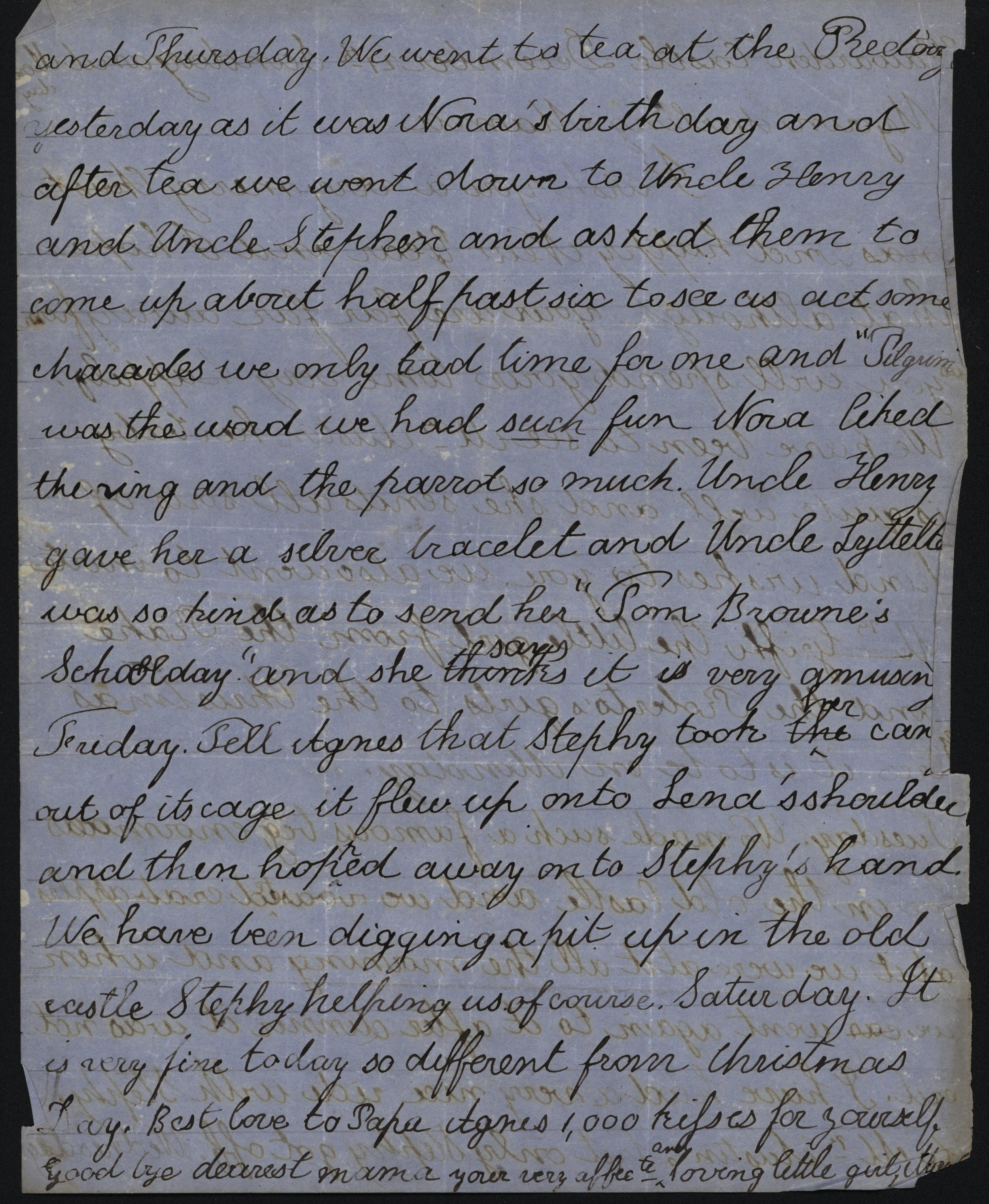 Mary Gladstone to Catherine Gladstone, 27 December [1858]. GG 759. The transcription of the letter appears in full at the end of the post.