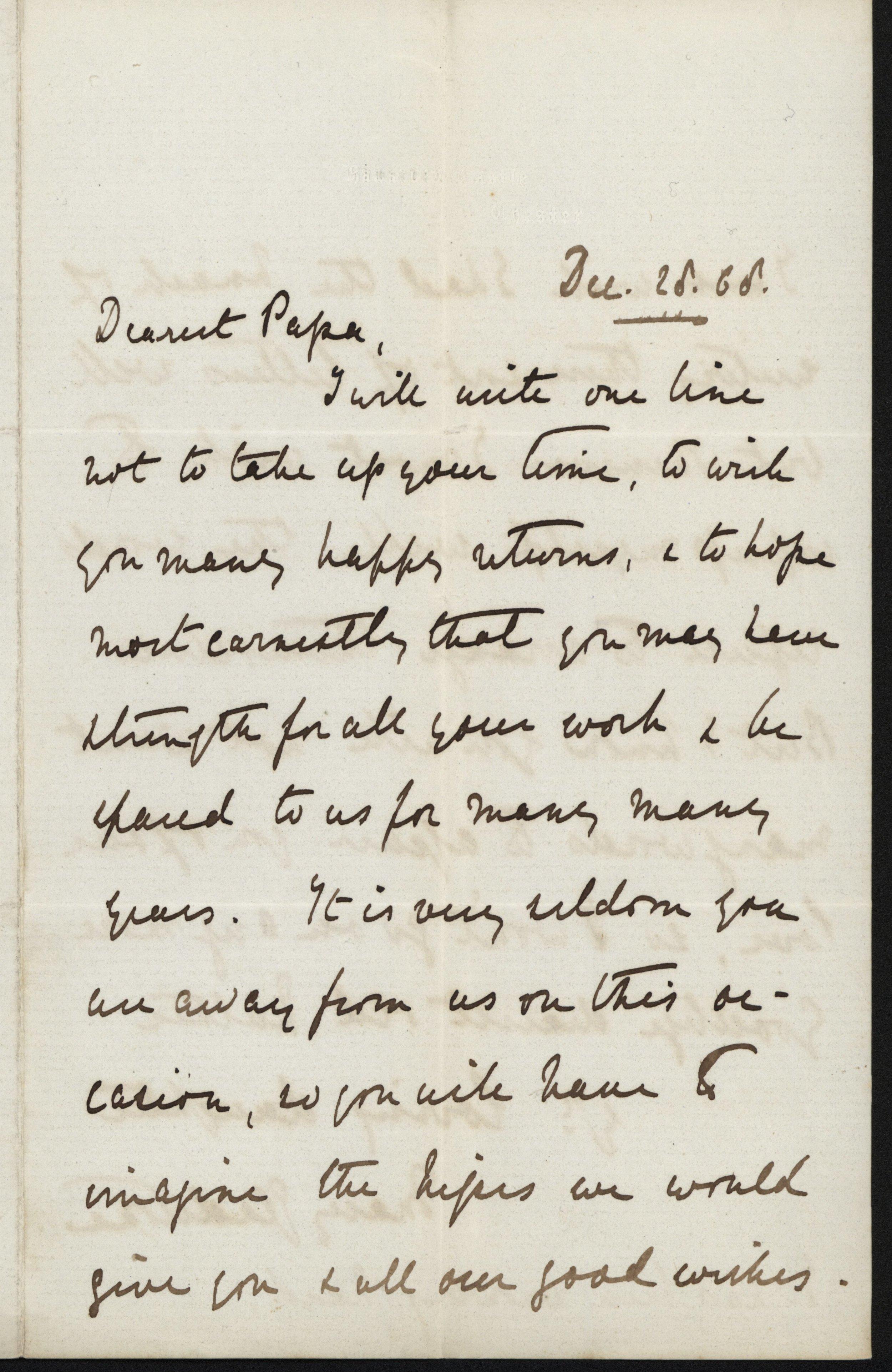 Mary Gladstone to W.E. Gladstone, 28 December 1868, GG 603. Transcription below.