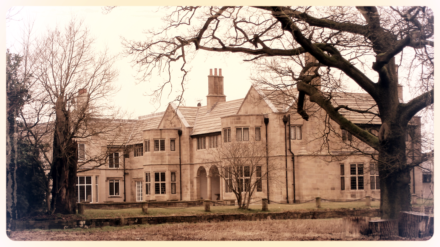 Blythe Hall, Lathom, Lancashire, UK. By Plucas58 (Own work) [CC BY-SA 3.0 ( http://creativecommons.org/licenses/by-sa/3.0 )], via Wikimedia Commons]. Image changed to sepia tone with border.