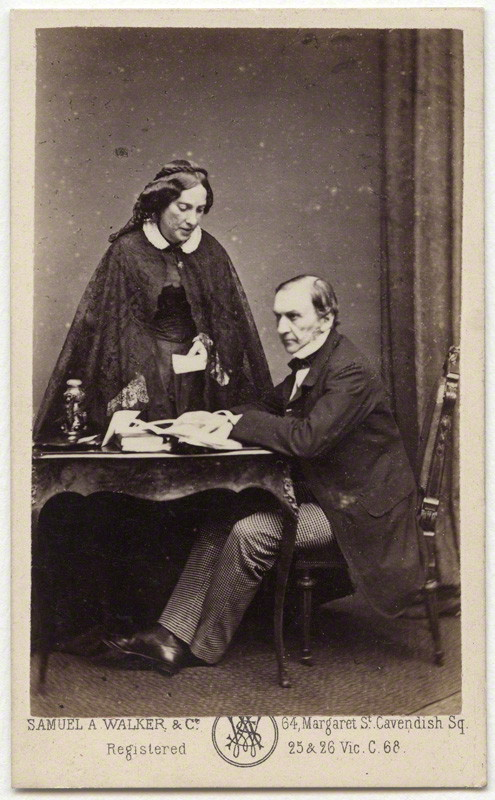 Catherine Gladstone (née Glynne); William Ewart Gladstone, by Samuel Alexander Walker, albumen carte-de-visite, 1862-1866, 3 5/8 in. x 2 1/4 in. (91 mm x 57 mm) image size. Given by Sir Geoffrey Langdon Keynes, 1958. NPG x5975.  Photographs Collection , National Portrait Gallery.  License .