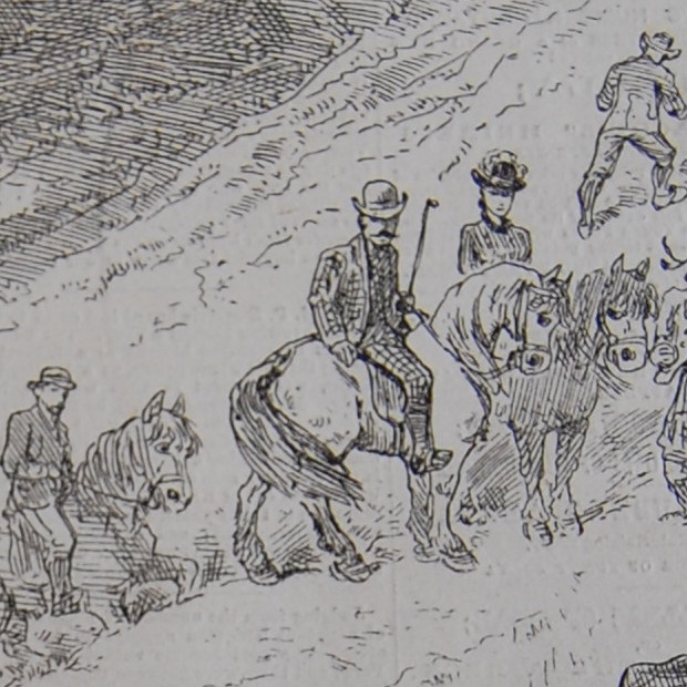 Detail of 'Mr. Gladstone and Party Ascending Ben Madhui, the Second Highest Mountain in Scotland',  The Penny Pictorial News and Family Story Paper , 15.369 (20 September 1884). The Flintshire Record Office, GG 1721. All images used with permission.