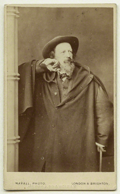 Alfred Tennyson, 1st Baron Tennyson  by John Jabez Edwin Mayall. Albumen carte-de-visite, 1870s. NPG x12997 © National Portrait Gallery, London.  License:  CC-BY-SA 3.0