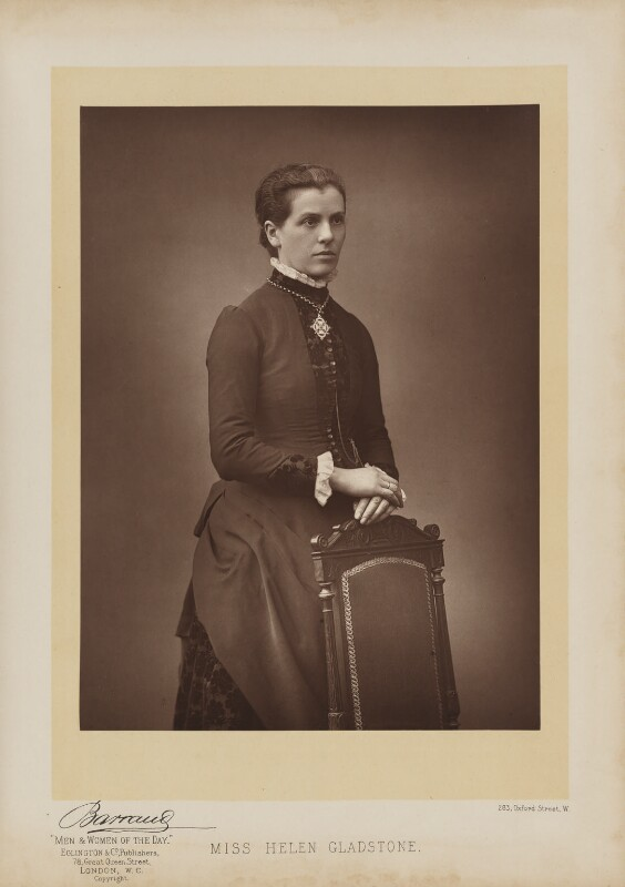 Helen Gladstone, by Herbert Rose Barraud, published by Eglington & Co. Carbon print, published 1893, 9 7/8 in. x 7 1/4 in. (250 mm x 185 mm) image size. Given by Henry C. Burland, 1986. Photographs Collection . NPG Ax27646.  License .