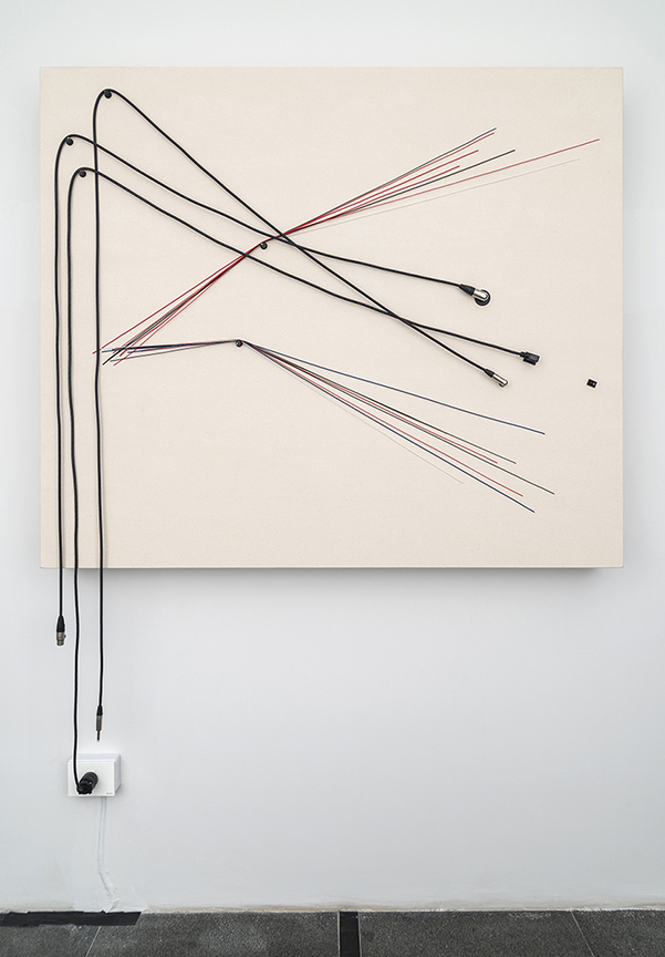"""Transition, 2015, Wood, canvas, electronics, cables, knobs, amplifier tubes, speakers, 47 x 55 x 5 ¼"""". Photo by Cary Whittier."""