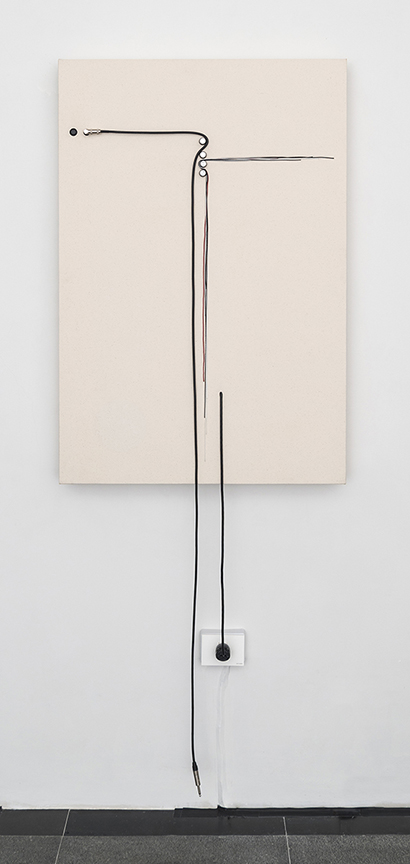 """Transition, 2015, Wood, canvas, electronics, cables, knobs, amplifier tubes, speakers, 30 ¼ x 44.5 x 4"""". Photo by Cary Whittier."""