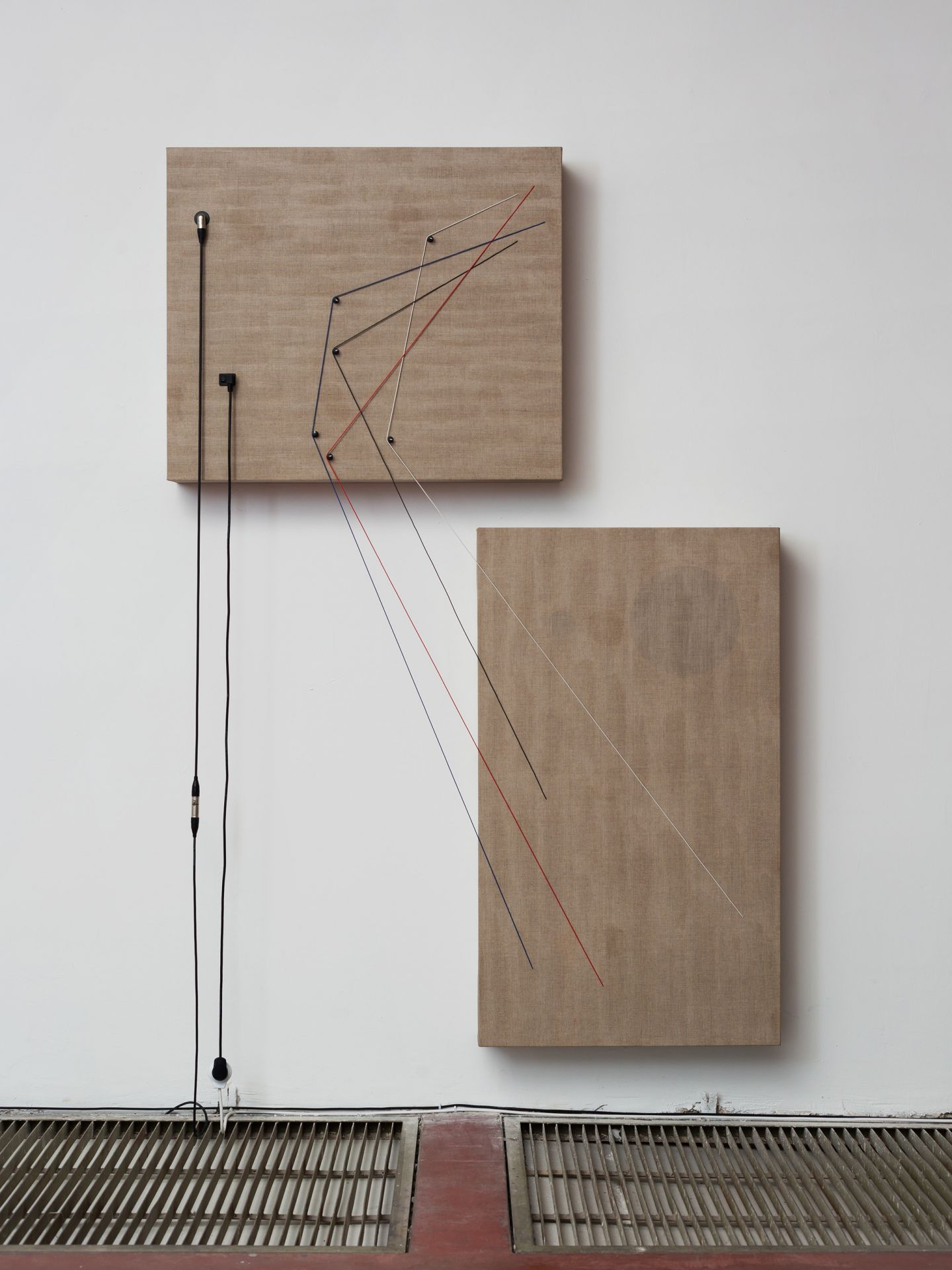 """Transition, 2016, Wood, canvas, electronics, cables, knobs, speakers, 87 4/5 × 59 4/5 × 6 1/2"""""""