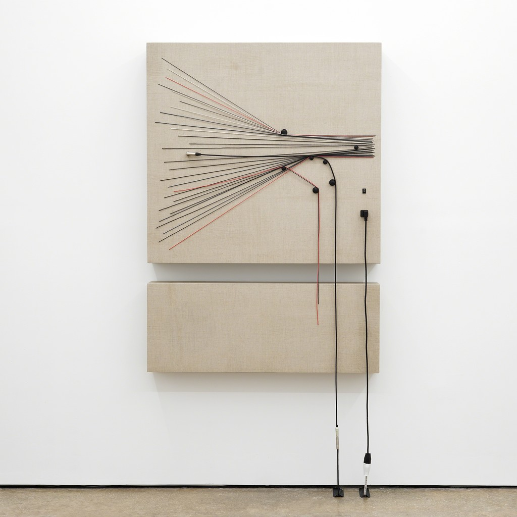 Transition, 2016, Wood, canvas, electronics, cables, knobs, amplifier tubes, speakers, 56 × 40 × 6 1/4 in