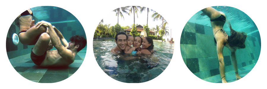 The go pro definitely came in handy capturing our fun underwater! In the center is Dice, Bri and their adorable kids!