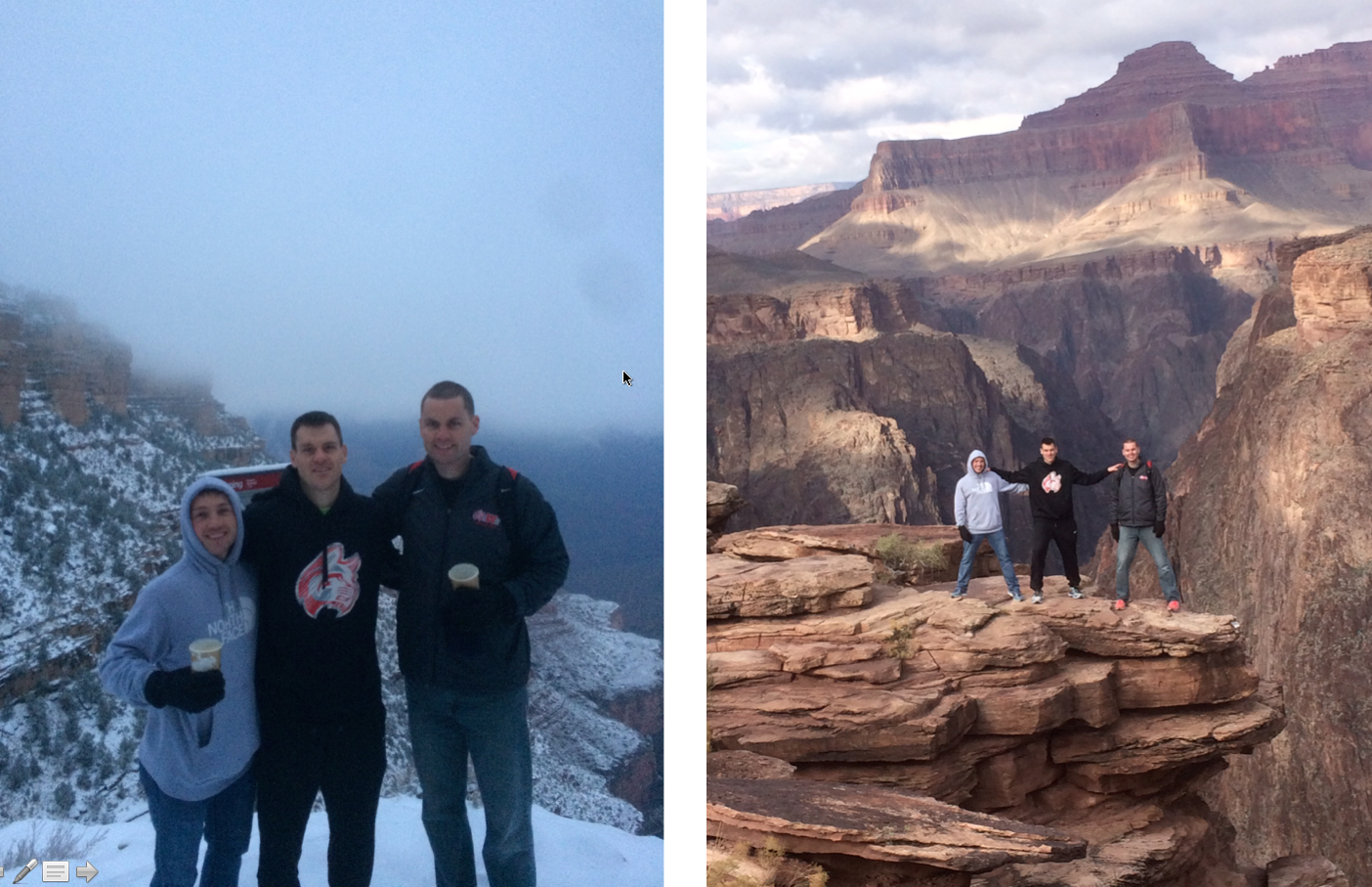 IWU Coaches at the South Rim of the Grand Canyon                               IWU Coaches at Plateau Point overlooking the Colorado River