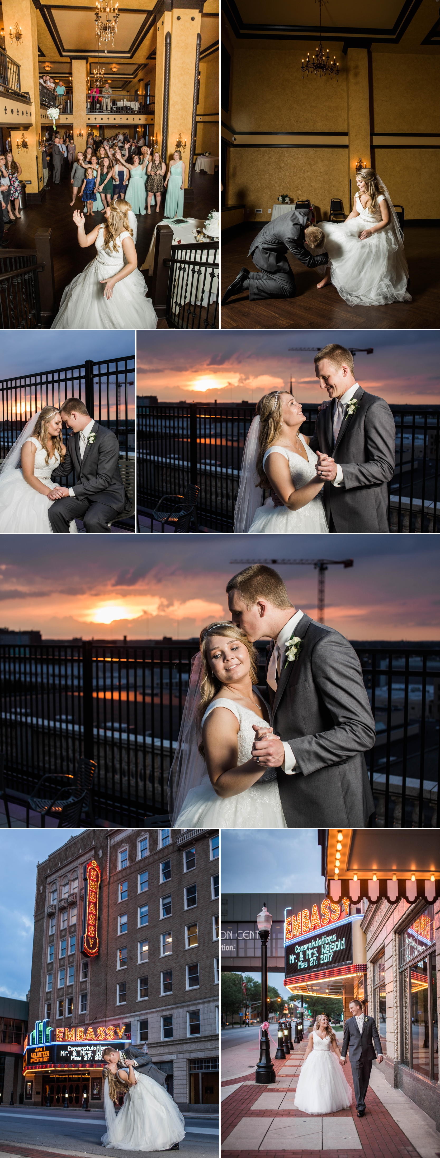 embassy - fort wayne - indiana - reception - wedding - sunset - rooftop - night