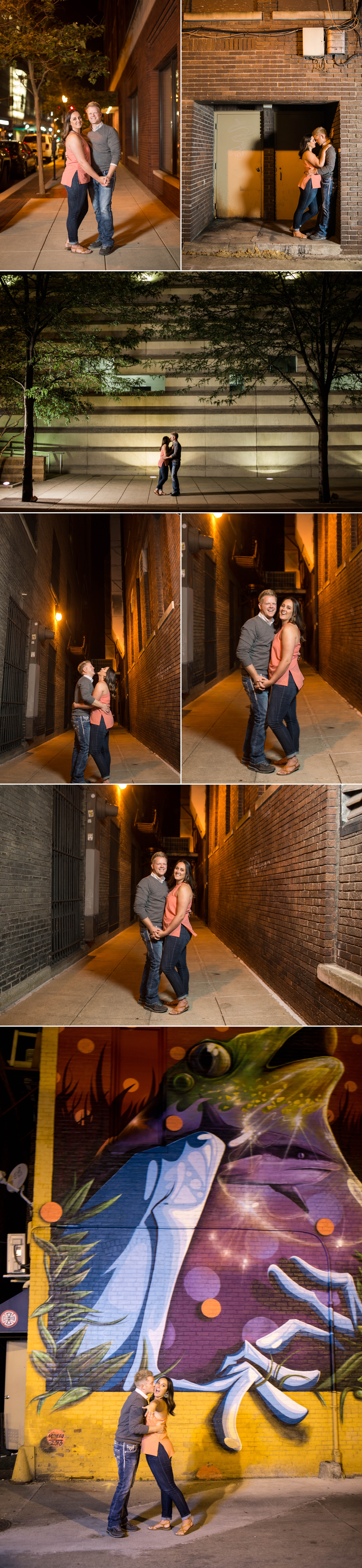 engagement - engaged - engagement session - e session - love - downtown - fort wayne - alley - pint n slice - night - street light