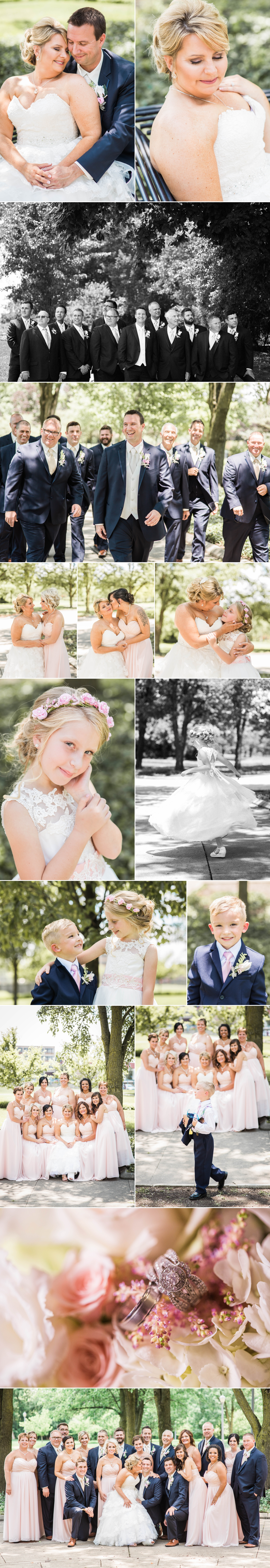 flower girl-wedding party-wedding day-wedding-park-downtown-bride-first look-groom-wedding dress-love
