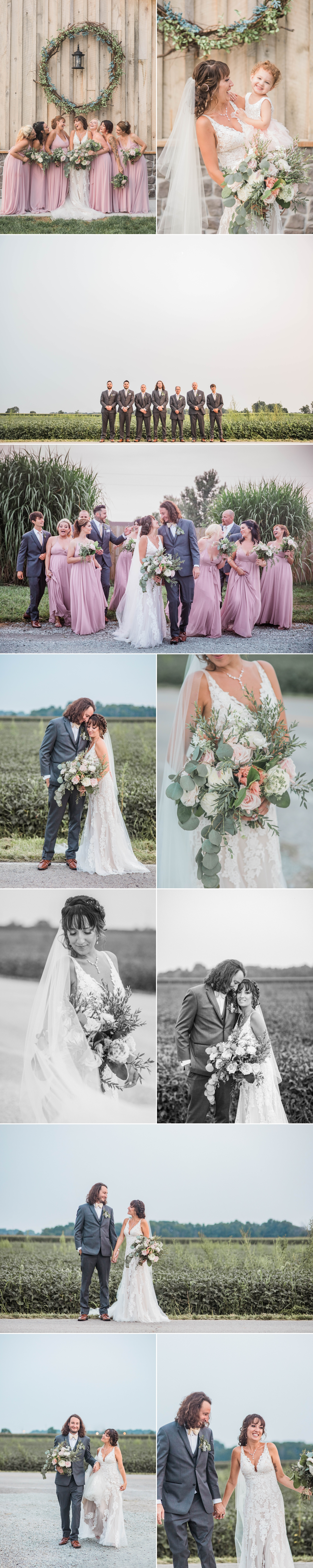 crystal coop indiana bride groom wedding party portraits bouquet kiss field