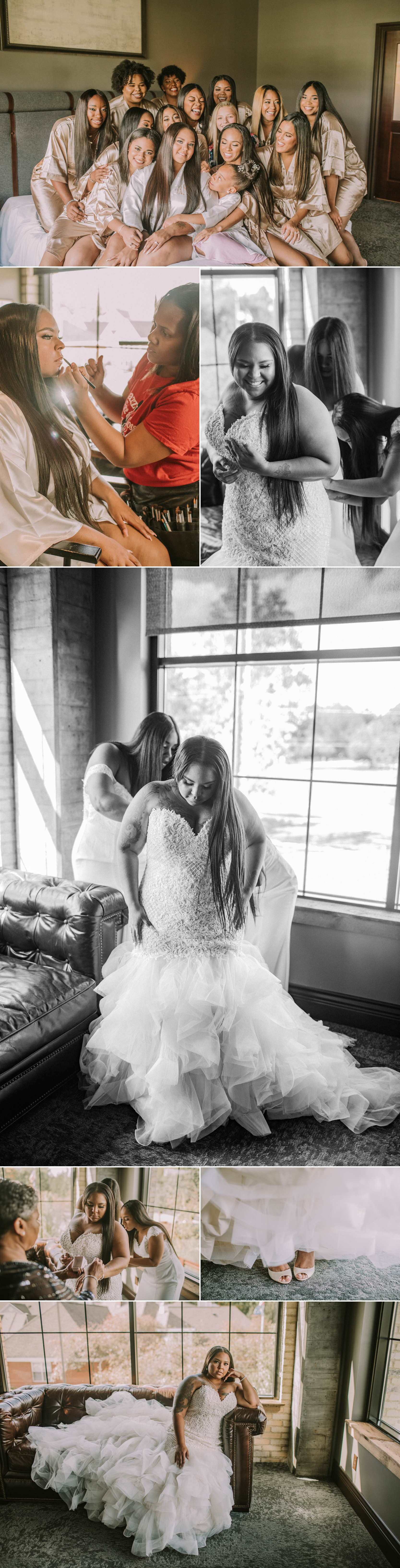ironworks hotel bride getting ready wedding day carmel indiana