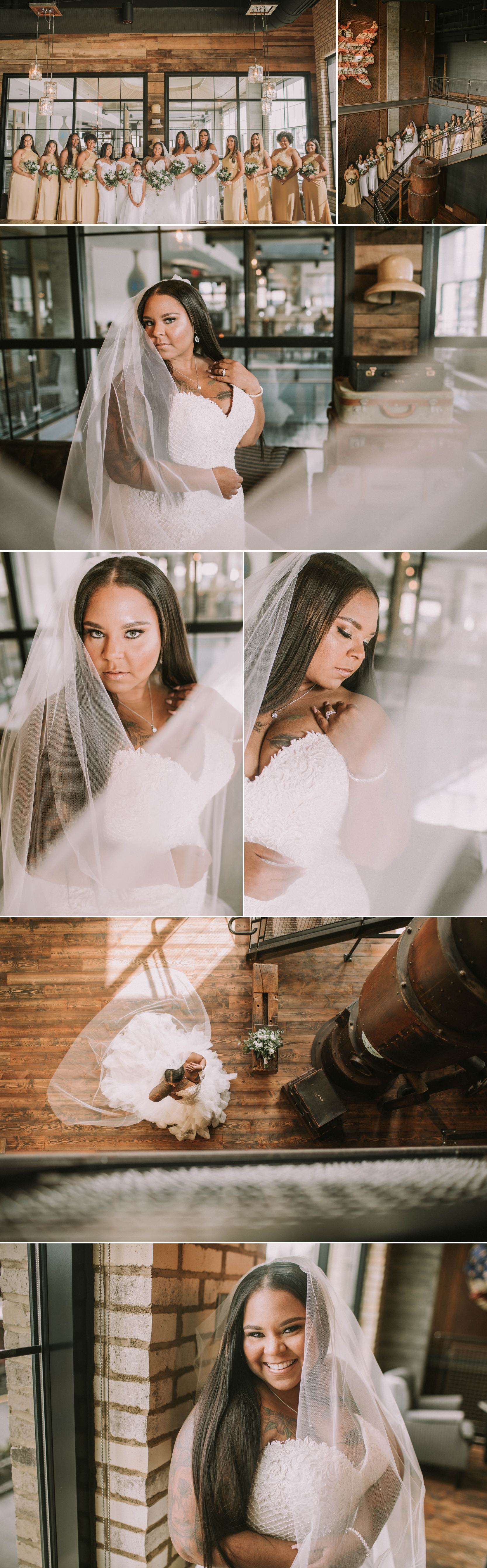 ironworks hotel bride bridesmaids wedding day carmel indiana
