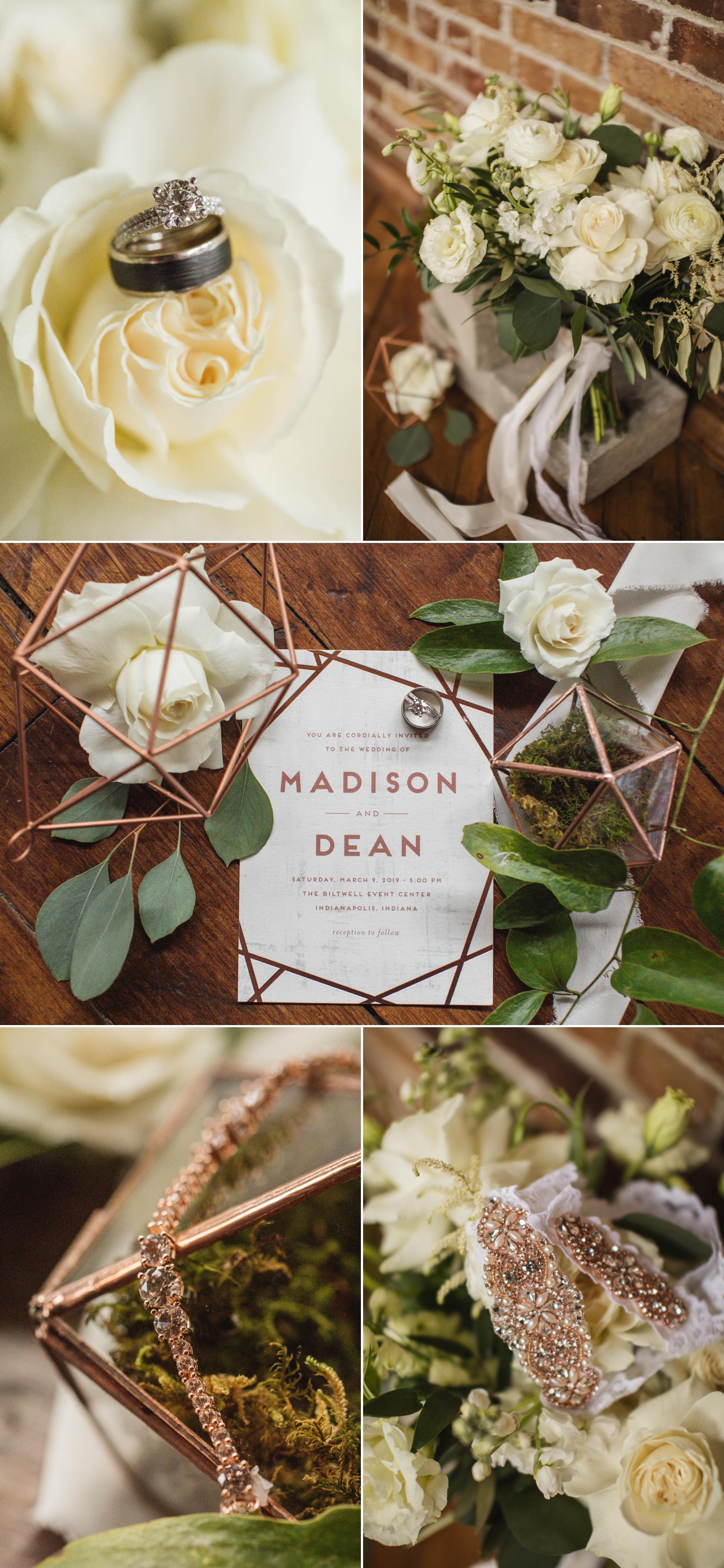 wedding details wedding dress ring shoes bouquet  biltwell event center