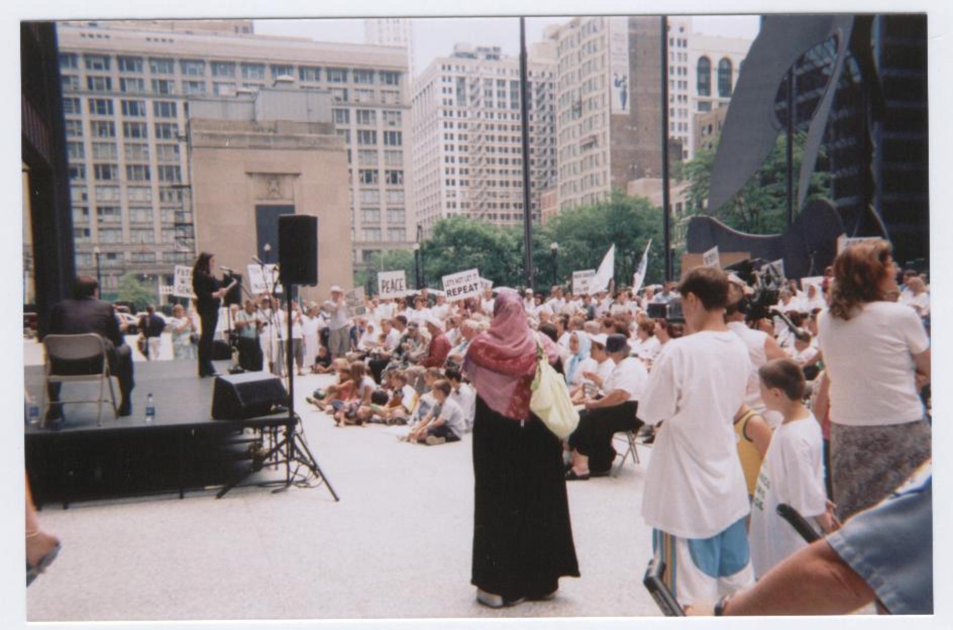 Ten-year memorial of Srebrenica massacres at Daley Plaza in Chicago, 2005.Photo credit: A. Croegaert