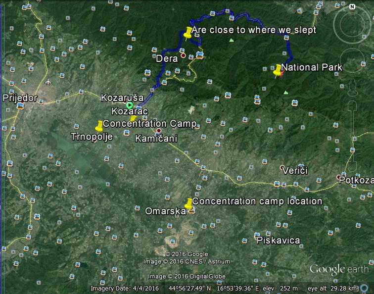 Mount Kozara Forced March, 1992. Map credit:E. Kulasic via Google Earth, 2016.