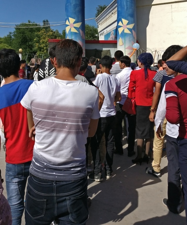 On June 24, 2017, the day Ramadan ended, locals lined up to enter a local theme park in order to celebrate Eid in a small town in Southern Xinjiang.