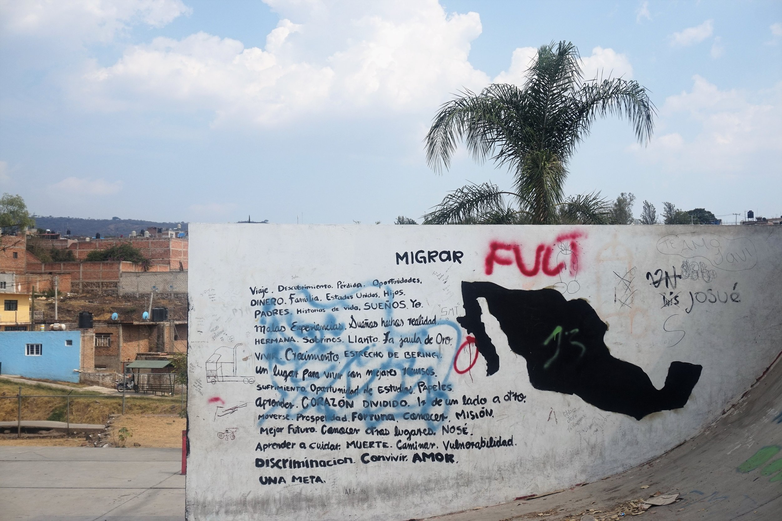 Mexican youth express their feelings about migration in this mural at a Zapotlanej skate part. Photo Credit: Melissa Hernández