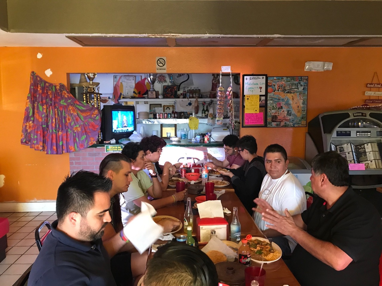 Members of the LGBTQ+ farmworker group at a local restaurant. Photo by Yesica Ramirez.