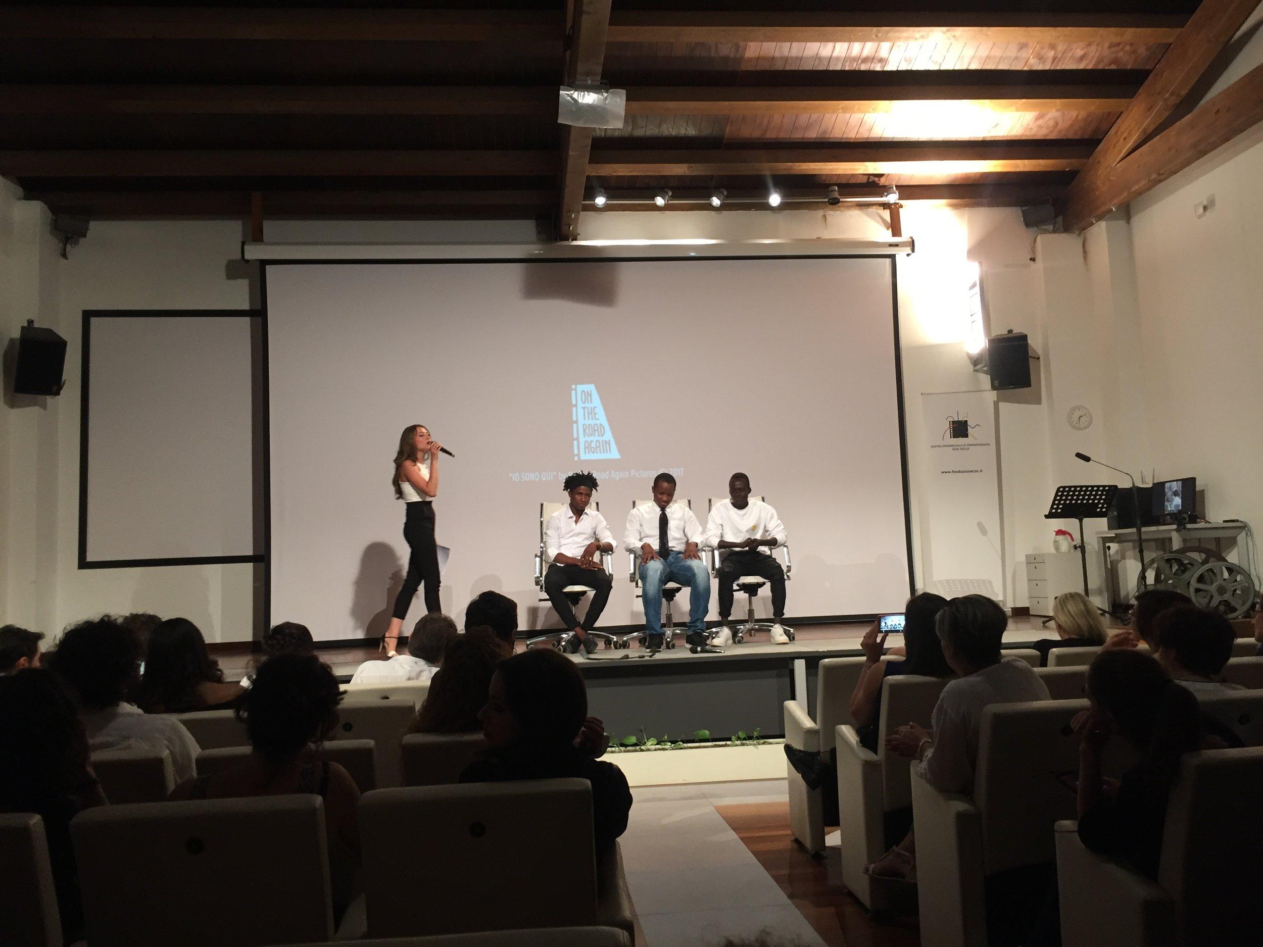 I tre protagonisti del film parlano durante una sessione di Q&A. Crediti fotografici: Autore.
