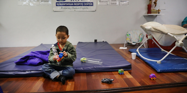 Honduran boy playing in Catholic Charities Respite Center crossed with his father in McAllen, Texas and separated under zero-tolerance.   Source