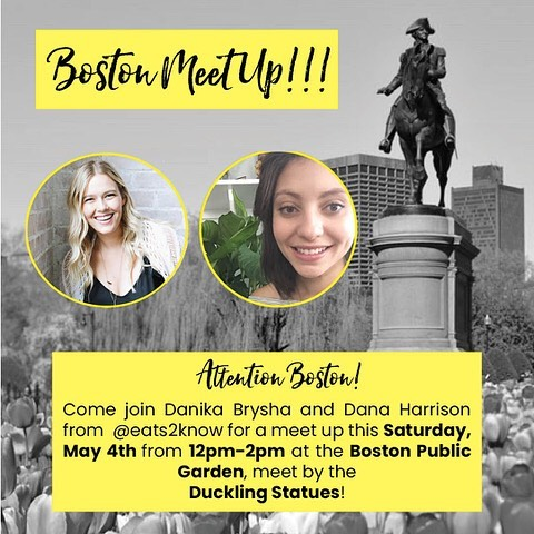 BOSTON MEETUP 🙌🏼 This Saturday I'll be teaming up with Boston local and wellness babe @eats2know to host a totally FREE, totally casual meetup for anyone in the Boston area who might want to come out and meet some like-minded people in their city. There's no need to sign up or prepare, you can just show up alone or bring some friends. If you're coming alone, don't stress about that for even a second. It's a great opportunity to make some new friends. Please arrive as close to the start time as possible (12pm EST) as we'll likely do group introductions and I don't want you to miss getting to know someone. Bring a blanket to sit on if you prefer and any food/drink you might want. We will connect and also do a Q+A (Dana is a wealth of knowledge and I'll look smart sitting next to her) so if you have questions, feel free to bring those too! Can't wait!