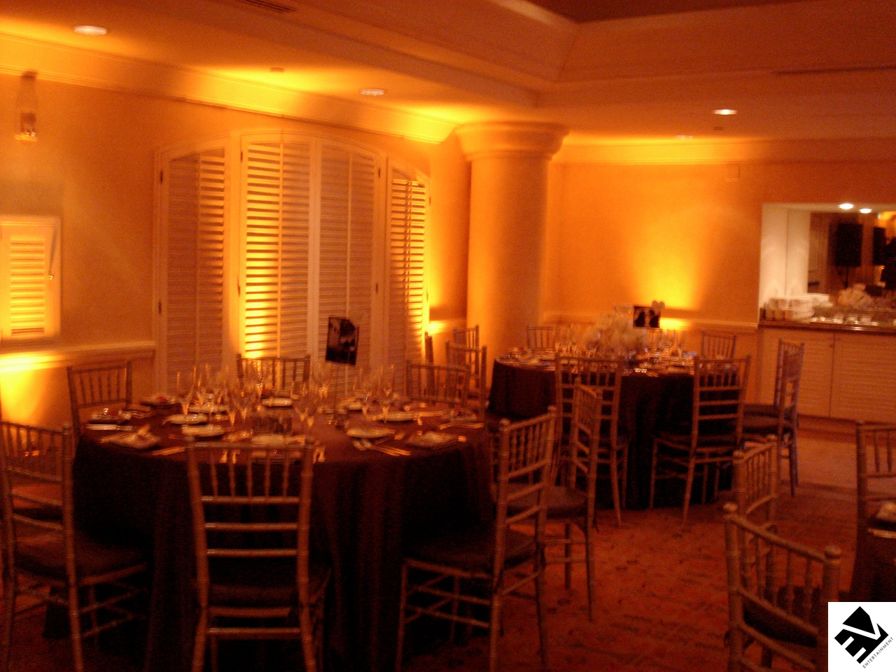 Our most popular package..  Comes with Wireless LED Uplighting to create the perfect mood or accent your wedding's color theme.  The latest in technology allows us to instantly change the color on demand (call for more details)  Packages starting as low as $649