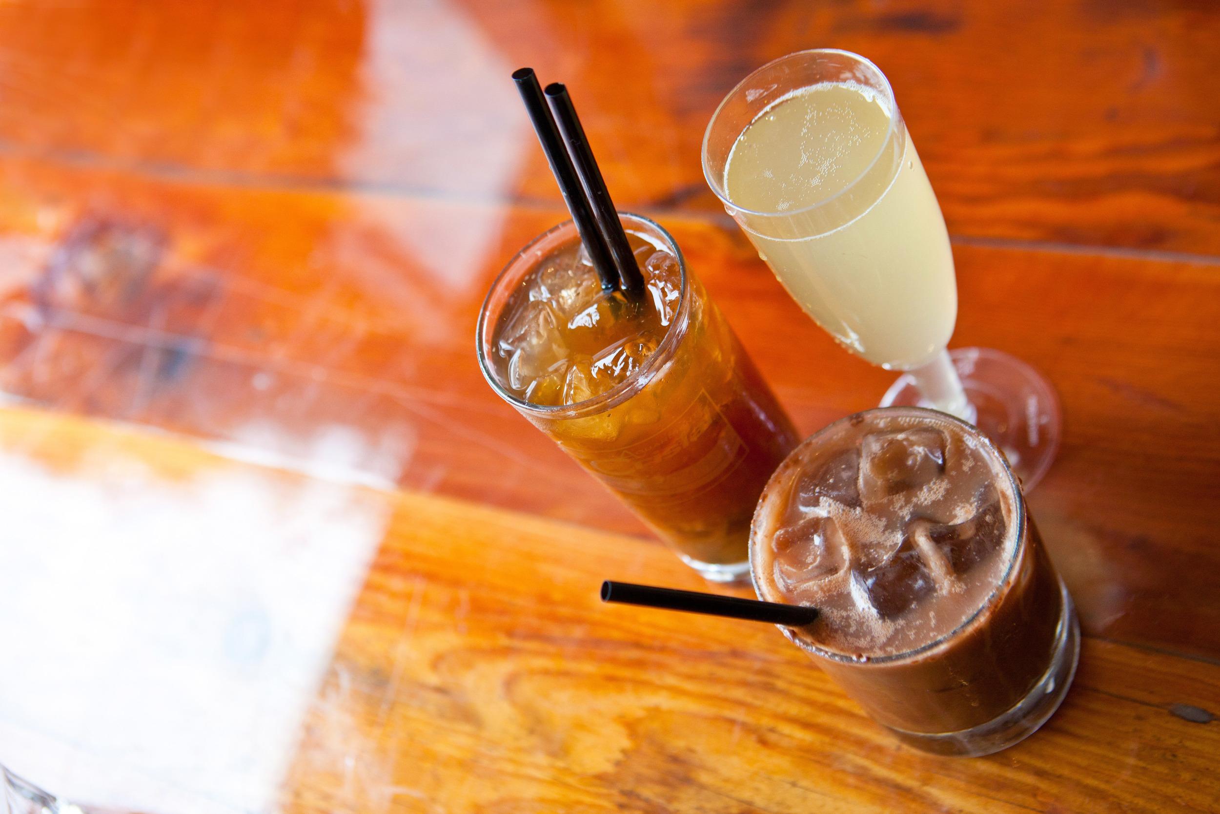 Dranks! served at Escala Los Angeles-- Calamansi Mimosa, Pearls of Disorient and Kape Espeysal.  Photo Credit: Brian Figueroa