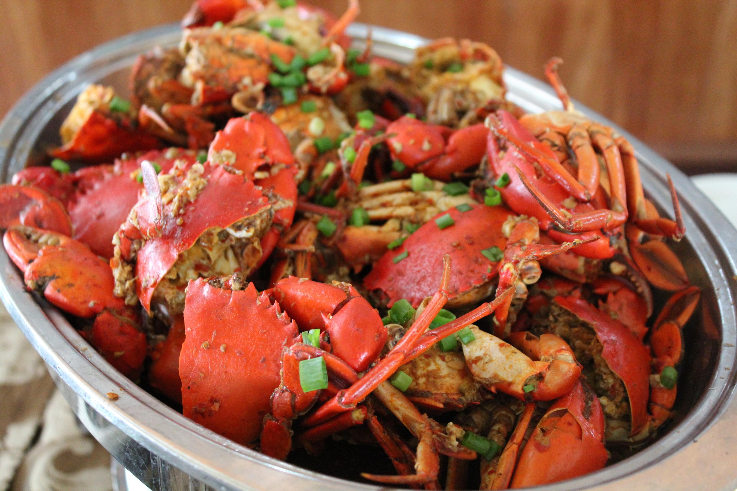 Coconut crab, Badjao Seafood restaurant, Palawan, Philippines. Photo credit, Sarahlynn Pablo.