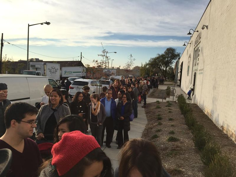 """""""Lines Snaked Down the Block for the Bad Saint Pop-up"""" by Missy Frederick, Eater DC, November 11, 2014."""