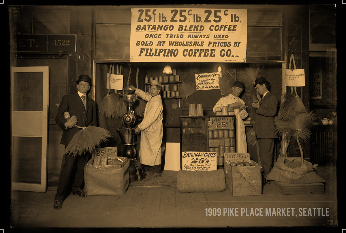 Filipino Coffee Company, 1909, Pike Place Market, Seattle. Courtesy of the Museum of History & Industry, PEMCO Webster & Steven Coll.