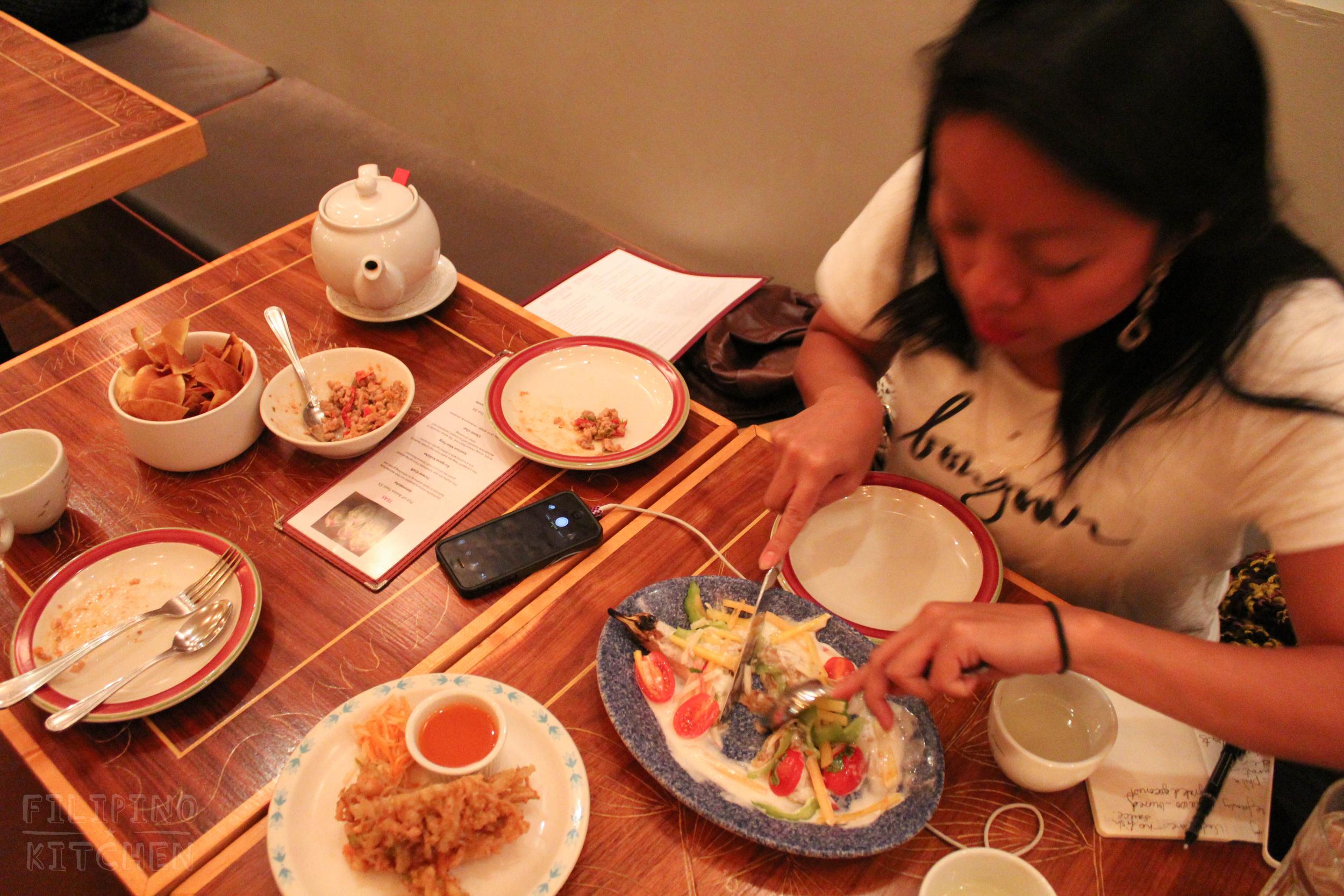 Ukoy (vegetable and shrimp fritter)and Eggplant Kulawo (burnt coconut cream)