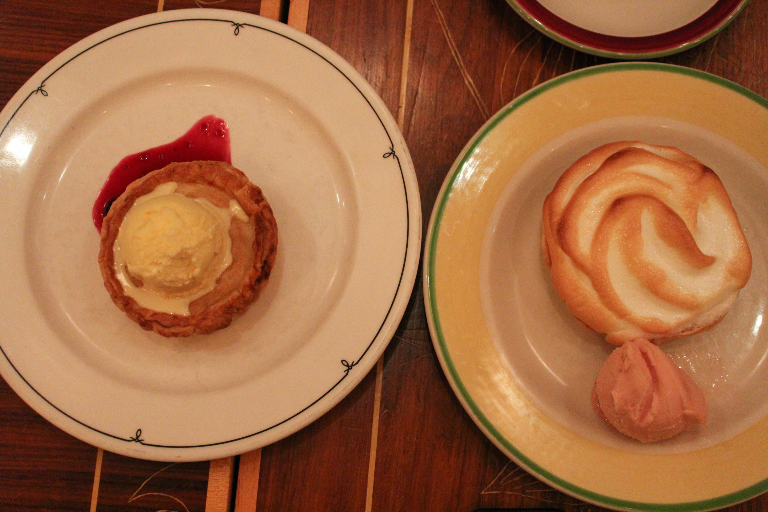 Buko (coconut)pie, a calamansi meringue pie with guava ice cream
