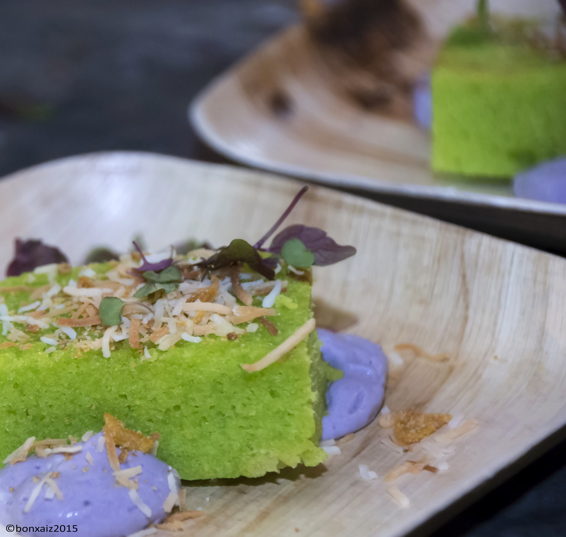 Chef Bryan Collante's olive oil cake with toasted coconut shreds, microgreens and ube macapuno foam. Bryan is the chef de cuisine at Michelin Bib Gourmand restaurant Untitled Supper Club in Chicago's River North.Photo credit: Gen Odon