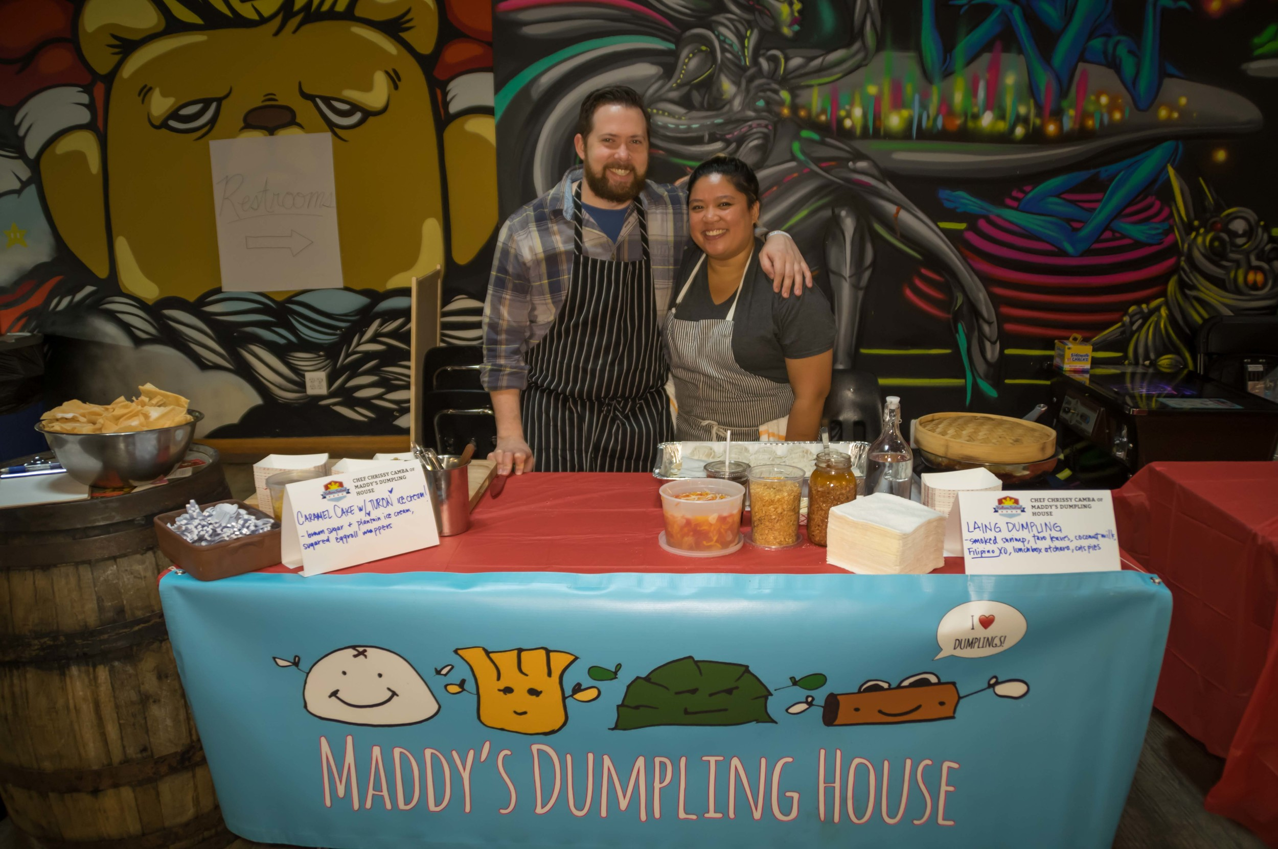 Chef Chrissy Camba of pop-up Maddy's Dumpling House with her fiancé, Chef Ashlee Aubin of Wood and Salero.Photo credit: Bryan Becares.
