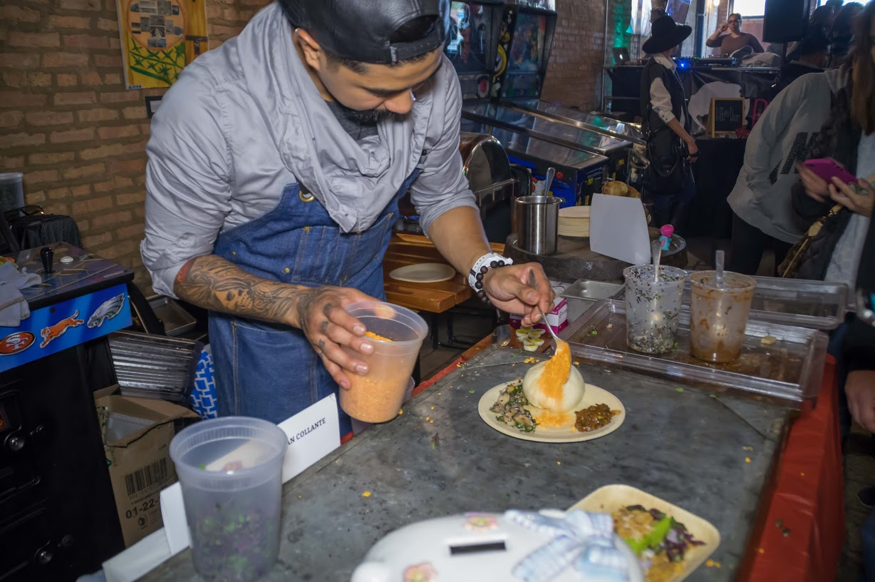 Chef Bryan Collante of Untitled Supper Club plates his kare-kare siopao dish. Photo credit: Bryan Becares.