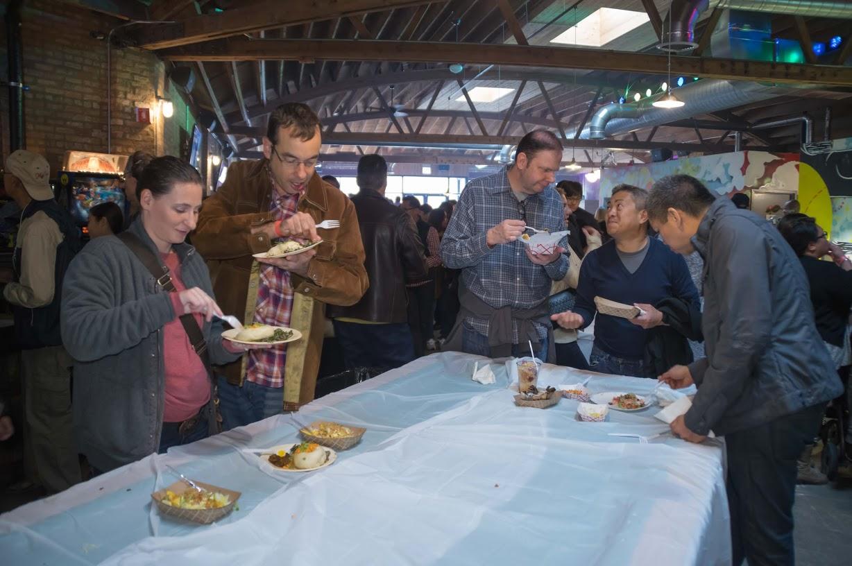 Billiard tables turned banquet tables at Kultura Festival. Photo credit: Bryan Becares