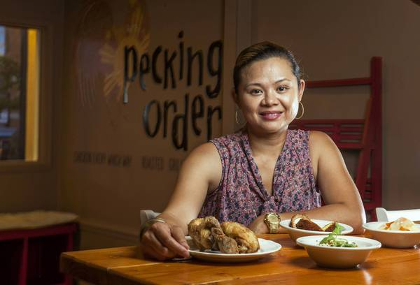 KRISTINE SUBIDO: PECKING ORDER CHICAGO, ILLINOIS  Facebook:  Pecking Order  Twitter:  @chefsubido  Instagram:  @kristine114   Kristine Subido is the chef and owner of Pecking Order in Chicago, where she puts a playful spin on the Filipino food of her youth. She was born in Manila, Philippines and moved to Chicago at age 9. Subido opened Pecking Order in 2012 with her mother, Melinda, after a decade-long tenure as executive chef at the Mediterranean-inspired Wave restaurant in the Chicago W Lakeshore, where she became known for her global approach to cooking and affinity for spices and big, punchy flavors.