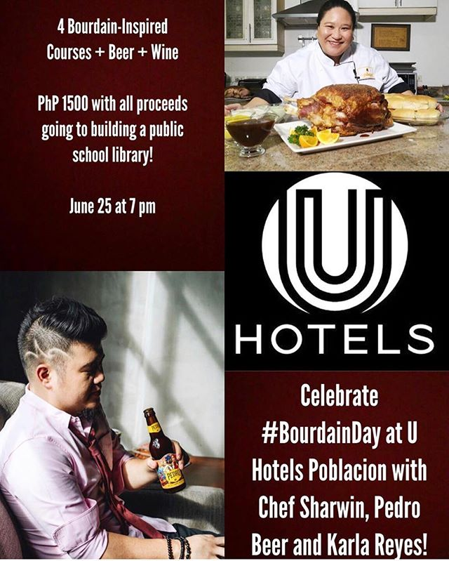 Yo #Manila - Chef Sharwin (@chefsharwin) is teaming up with Pedro Brewery (@pedrobrewcrafters) and Karla Reyes (@quichethecookph) for a #AnthonyBourdain inspired pop-up that benefits AHON Foundation to be able to build libraries to under-served schools in the Philippines. #pinoyssupportingpinoys #popup #manila #philippines #bourdainday #supperclub #filipinofood #filipinochefs #filipina #pinay #itsmorefuninphilippines #chrfsharwin