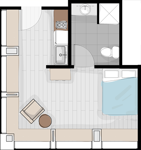 Layout #3 - corner unit with two walls of windows, ADA compliant