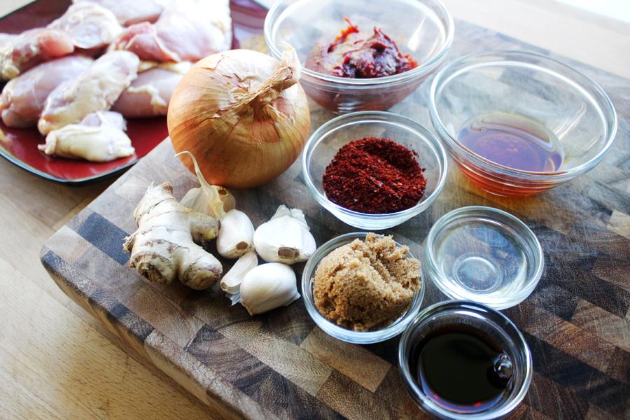 Ingredients: Boneless chicken thighs, onion, garlic, ginger, brown sugar, gochugaru, gochugang, sesame seed oil, rice wine vinegar, soy sauce
