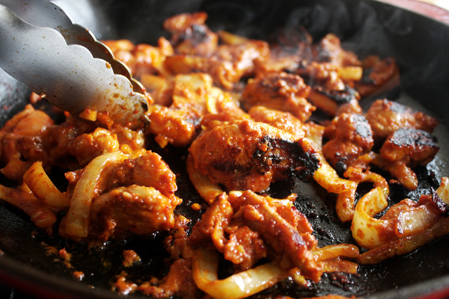 """In a cast iron skillet or large pan, cook the chicken about 5-8 minutes on each side. The brown sugar will help to give some """"char"""" on the pieces. This would also be great on the grill."""